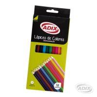 Lapiz Largo Hexagonal 12 Colores (019) ADIX