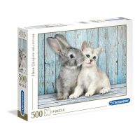 Puzzle Gato y Conejo - 500 piezas - High Quality Collection - Clementoni