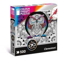 Puzzle Buho - 500 piezas - 3D Terapia del color - Clementoni