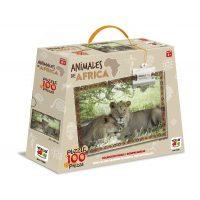 PUZZLE 100 PIEZAS ANIMALES DE AFRICA - LEONES