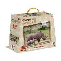 PUZZLE 100 PIEZAS ANIMALES DE AFRICA - RINOCERONTE