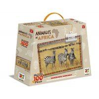 PUZZLE 100 PIEZAS ANIMALES DE AFRICA - CEBRA