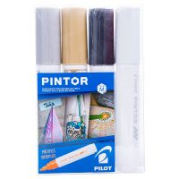 Set Pintor Medio 4 unidades Blanco, Negro, Dorado, Plateado