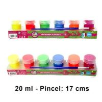 TEMPERA FLUOR 20ML CON PINCEL 6 COLORES