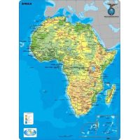 MAPA CONTINENTAL - AFRICA - FISICO - CON MOLDURAS 110 X 77 CM