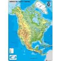 MAPA CONTINENTAL - AMERICA DEL NORTE - FISICO - CON MOLDURAS 110X77CM