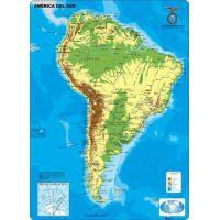 MAPA CONTINENTAL - AMERICA DEL SUR - FISICO - CON MOLDURAS 110X77CM