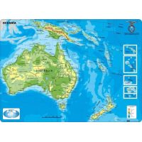 MAPA CONTINENTAL - OCEANIA - FISICO - CON MOLDURAS 11X77CM