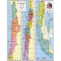 Mapa de Chile Político Regionalizado - Escala 1:6.000.000