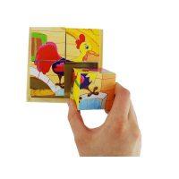 Puzzle Cubo Granja Madera